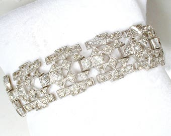 Antique 1930s Art Deco Clear Pave Rhinestone WIDE Link Bracelet, Great Gatsby Bridal Jewelry,Vintage Flapper French Paste Statement Bracelet