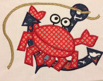 Embroidered Crab Table Runner & Dish Towel Set