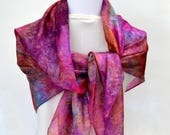 Silk Scarf, Square Scarf , Ready to ship, Gift for Her, 38 x 38 inches, Made in Australia SallyAnnesSilks  S180