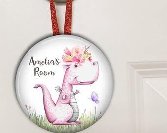Dragon nursery decor - personalized baby girl gifts - Bedroom door knob hanger for kids HAN-PERS-18