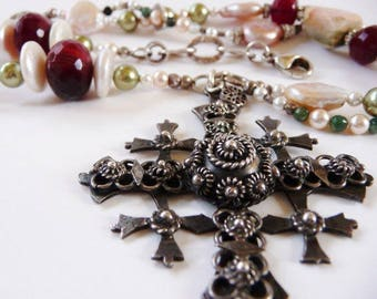 Vintage Mexican sterling silver cross   artisan necklace   ruby quartz   pearl   hallmarked vintage Mexican jewelry   Etruscan style
