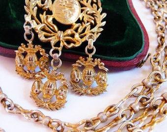 Nettie Rosenstein sterling silver necklace   vintage silver necklace   gilt sterling   vintage 1940s   fleur de lis