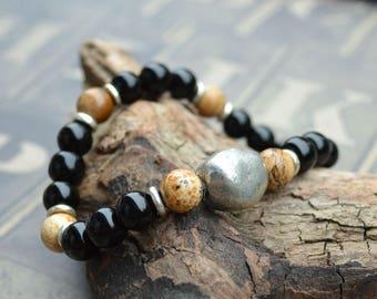 Black Obsidian Stretch Energy Bracelet Yoga Mala Beads Wrist Picture Jasper