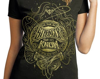 Wonder Woman T-Shirt Pre-order // Stronger Than You Know Shirt // Hand Screen Printed // Women's Black and Gold