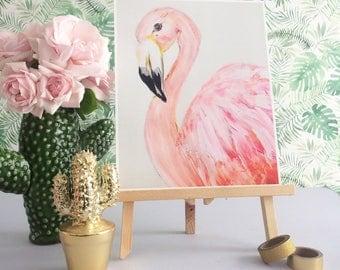 pink flamingo print - flamingo illustration - flamingo painting - bar card print - tropical bird wall art