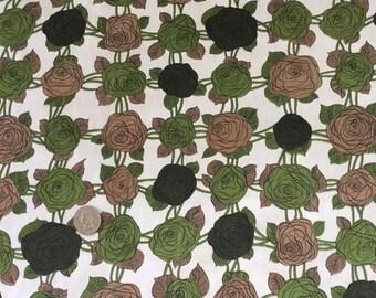 Vintage Floral Fabric, Cotton, Large print, 50s, brown avocado, dressmaking. sewing, yardage