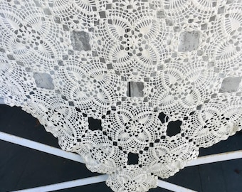 Vintage Crocheted Tablecloth, cream, ivory, rectangular hand made