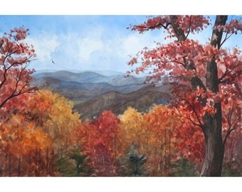 Blue Ridge Mountains Watercolor Painting- Print from an Original Painting by Laura Poss, Three sizes available, Fall Colors Appalachian Art