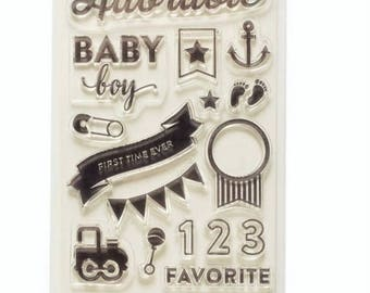 Project Life BABY BOY Clear Acrylic Stamps 21pc Becky Higgins Pocket Pages Planner Scrapbook