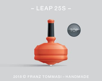 LEAP 25S Orange – Precision handmade spin top with ceramic tip and integrated rubber grip