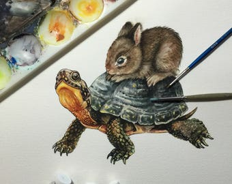 Original watercolour - Blanding's Turtle with bunny passenger