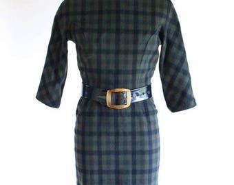 50s dress - 1950s wool plaid day dress - wiggle dress - xs