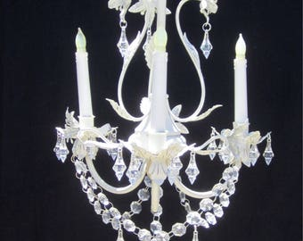 Italian Tole Hanging CHANDELIER CANDLE Holder  - Oak 3 arm Off WHITE   with Clear Acrylic Crystals    /Outdoor /Indoor