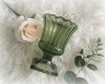 Vintage Green Vase Colored Glass Avocado Green Pedestal Vase Compote Indiana Glass
