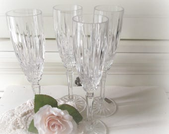 Vintage Champagne Flutes Bridal Party Glasses Mikasa Crystal Glasses Toasting Flutes Boho Wedding Mikasa Dublin Pattern