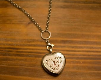 ON SALE TODAY Heart Stainless Steal Essential Oil Diffuser Necklace with Filigree Locket with a full set of felt pads