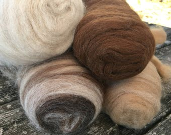 "Alpaca blanket roving 16oz color pack ""Seashells and Sand"""