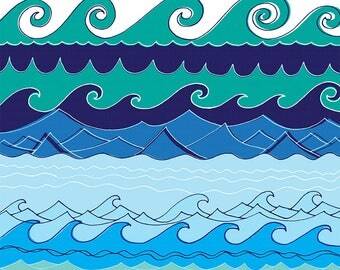 Wave Border Clip Art, Water Border Image, Water ClipArt, PNG Image, Instant Download, Card Making & Invitation, Wave ClipArt Graphic Design