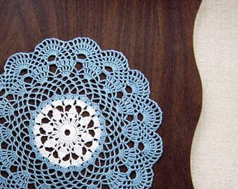French Lace Scallop Crochet Lace Doily, Delft Blue and White, New Table Centerpiece, Modern Home Decor, Sea Shell Edging