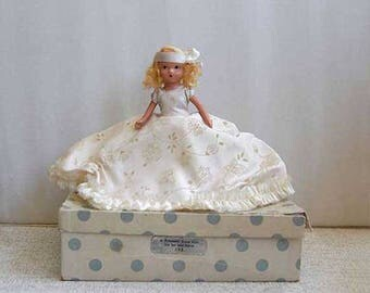 Nancy Ann Storybook Doll, Bisque Doll of the Month, Original Box, A February Fairy Girl for Ice and Snow #188, Blond Hair, Vintage 1940s