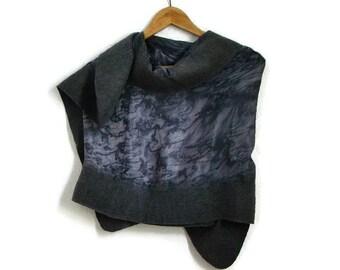 grey felted shawl, silk shawl
