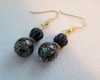 Black onyx and vintage cloisonne earrings
