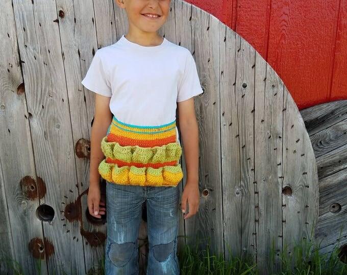 Ready to Ship,Original Egg Apron,Child Apron,Child Egg Apron,Crochet Half Apron,Colorful Egg Apron,Garden Apron,Egg Collecting,Egg Gathering