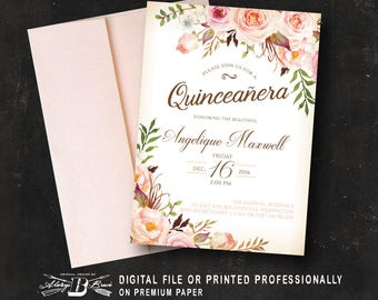 Quinceañera Invitation | Girls 15th Birthday Peach Coral  | Floral Birthday Invitation Printed or Printable Digital DIY Spanish Quinceanera