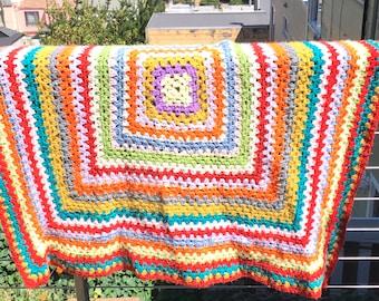 vintage granny square crochet afghan lap blanket multi color