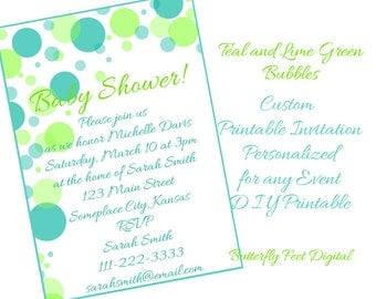 Printable Bubbles Invitation, Baby Shower, Bridal Shower, Any Event, Custom Personalized, 5x7