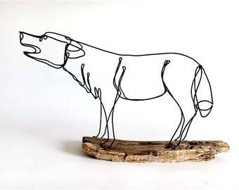 Howling Wolf Wire Sculpture, Wolf Folk Art, Timber Wolf Sculpture, 537248236