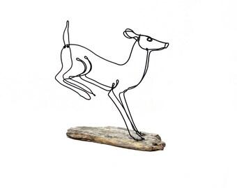 Running Deer,  Doe Wire Sculpture, White Tailed Deer, Deer Wire Art, 569792217