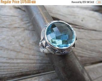 ON SALE Sky blue topaz ring cast in sterling silver 925