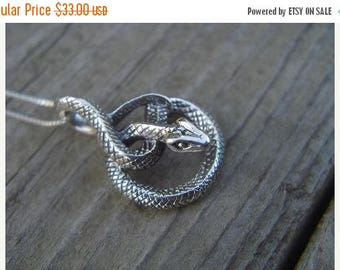 ON SALE Coiled snake necklace is sterling silver