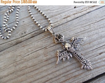 ON SALE Medieval cross necklace handmade in sterling silver 925 with black cz's