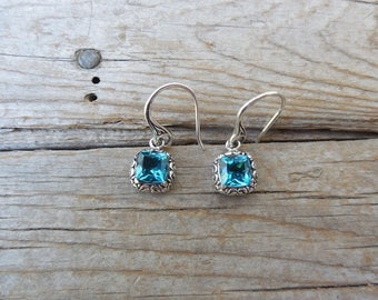 London blue topaz earrings handmade in sterling silver 925