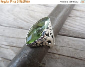 ON SALE Beautiful green amethyst ring handmade in sterling silver