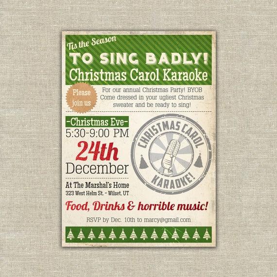 Work Christmas Party Invites: Items Similar To Karaoke Christmas, Karaoke Party