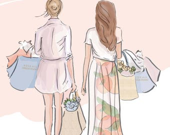 Best Friends  - Shopping with Your Best Friend - Cards for Friends - Art for Women -Friendship Quotes  Art for Women - Inspirational Art