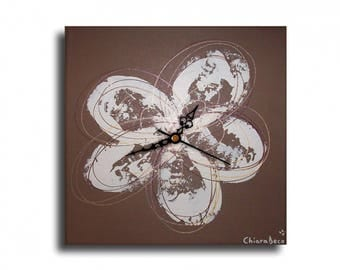 Tableau horloge pendule coquelicot fleur marron blanc chic or