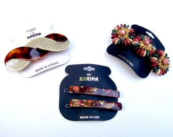 4 vintage Karina big and bold hair barrette celluloid hair accessory hair clip hair slide hair ornament (ADC)