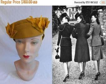 BI-ANNUAL SALE Tied Up in Love - Vintage 1940s Ww2 Mustard Yellow Wool Felt Pillbox Hat w/Feather Sides