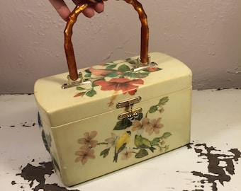 The Birds of Belize - Vintage 1950s Birds on Floral Shrubs Decoupage Wooden Handbag