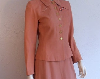 Anniversary Sale 35% Off It Is All Hush Hush - Vintage WW2 1940s Muted Salmon Coral Rayon Suit w/Butterscotch Lucite Buttons - 8/10