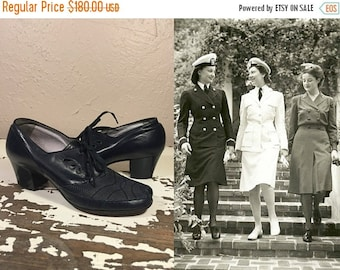 Anniversary Sale 35% Off Morning Roll Call - Vintage 1940s WW2 Navy Leather & Mesh Lace Up Oxfords Shoes - 7 1/2C