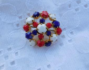 Patriotic & Stunning Red White Blue Rhinestone Brooch Pin