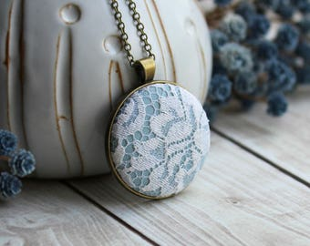 Flower Boho Necklace, White, Light Sky Blue Wedding, Unique Lace Anniversary Gift For Women