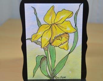 Original ACEO Watercolor Painting - Daffoldil Flower Watercolor Art