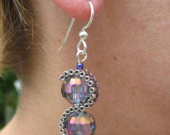 Iridescent Blue/Purple/Mauve Crystal and Peyote Stitch Wrap Earrings on Sterling Silver Wires