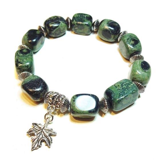 Chunky Kambaba Jasper Nugget Gemstone Stretch Bracelet - Approx. 20.5cm